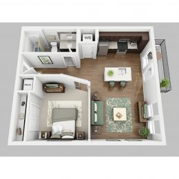 Studio one bathroom floor plan